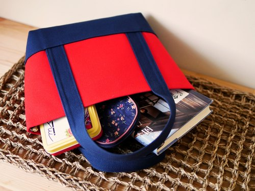 Classic Tote Bag Ssize red x navy - Red x Navy Blue -