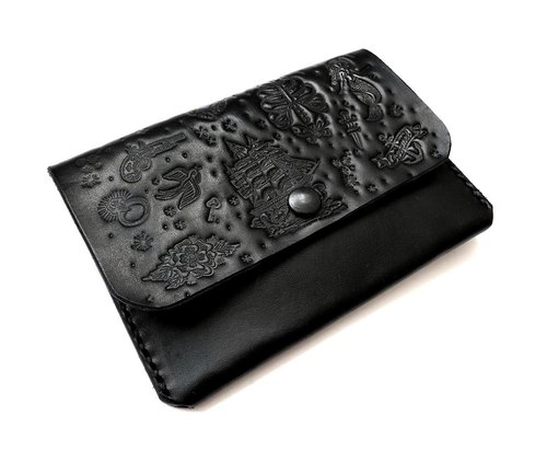 Fashion leather passport holder / wallet - hand pressure Tattoo Old School Tattoo
