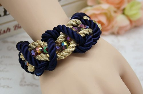 Dual woven bracelet / necklace beads retro colorful baskets fight gold copper gorgeous knot