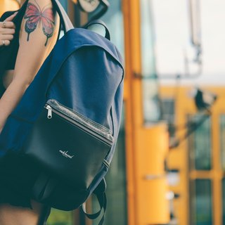 Matchwood design Matchwood Infantry Simple Classic Backpack 17 吋 电 夹 Leather blue leather bag Travel bag