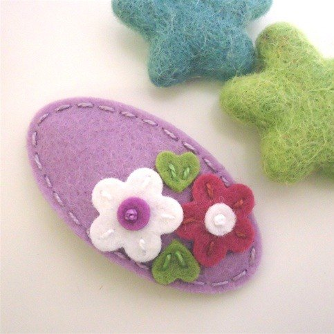 Britain may-crimson│ handmade wool felt bottom hairpin purple daisies MCDBDSLV0
