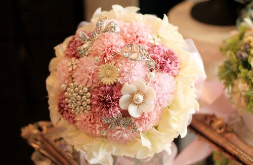 Jewelry bouquet chrysanthemum] [Classic lace pink ball