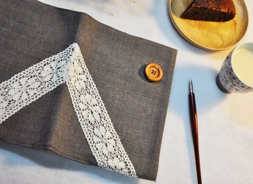 Hand clothes for the book notebook [end] of time chartered iron gray fine woven linen subsection (Big = A5)