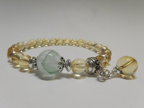 """Magnificent"" - natural topaz sterling silver bracelet + emerald ghost Hong Kong Design"