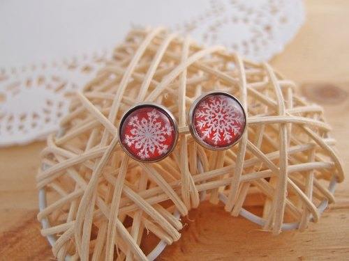 Merry Christmas! ◎ Christmas red snowflake x hypoallergenic needle. Christmas clip-on earrings]