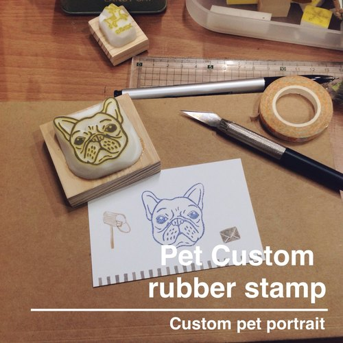 Deerday hand carved stamp - exclusive custom dog picture hand carved chapter (4X4 cm picture)