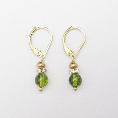 [MUCHU Mu orange] friendship. Popcorn green crystal brass earrings FE011