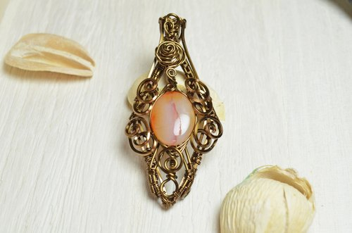 Onyx pendant design wire / copper / winding / Manual / Accessories / Crystal / Natural stone