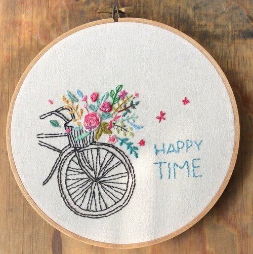 (Embroidery material package) Happy Time bicycle baskets embroidery painting