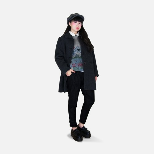A‧PRANK: DOLLY :: VINTAGE retro with dark gray stitching breasted wool coat jacket
