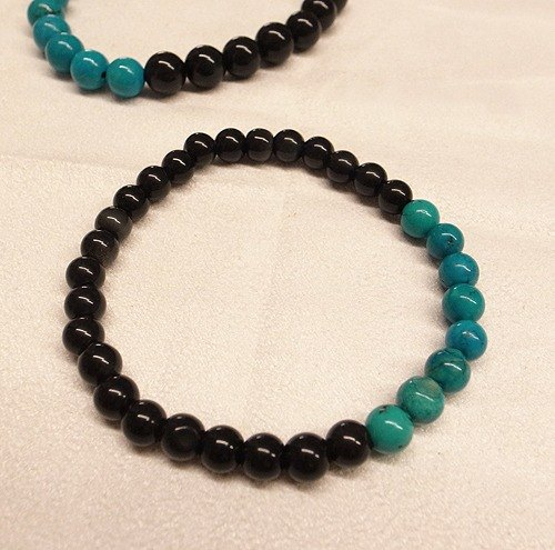 Yuxi Handmade [07221-6m] Obsidian with Blue Turquoise Series