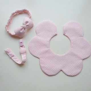 Little white powder births gift three groups (bibs + headband + pacifier clip)