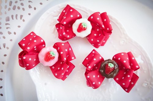 Warm red little bow hairpin