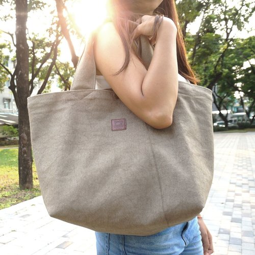 """Large wind magnanimous canvas bag"" ghost washed canvas - Matcha Latte"