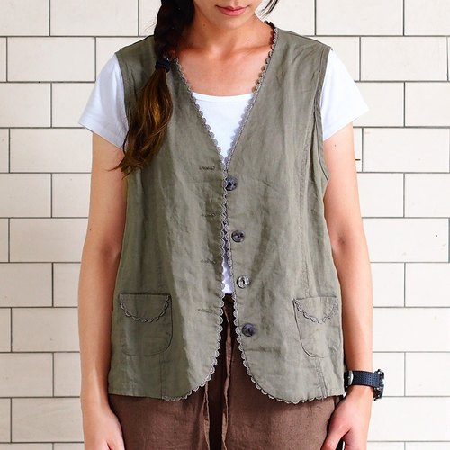 Calf Calf Village ├ original village not Zhuangshan ┤ wild cotton vest {date} olive relax arts