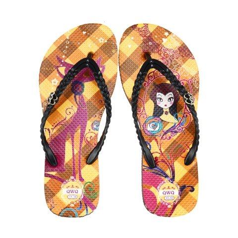 QWQ creative design flip-flops (no diamond) - cat mirror - coffee [FAN0191507]