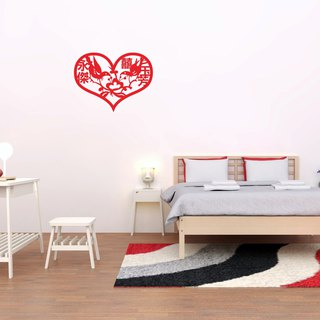 Customized 囍 word wall sticker 1 love magpie - new name & color customizable / 囍 word paste
