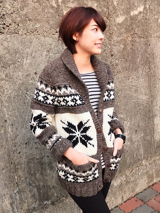 【Grooving the beats】Handmade Hand Knit Wool Sweater / Cardigan / Wool Coat(Brown)
