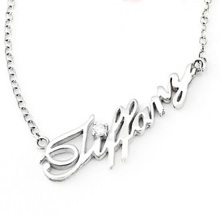 Order name/letter/English text/name necklace Necklace Diamond sterling silver custom necklace-ART64 silver