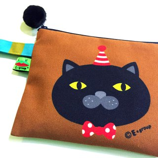 E * group box portable package (chocolate matcha) double-sided design universal pouch bag handbag cosmetic bag cat