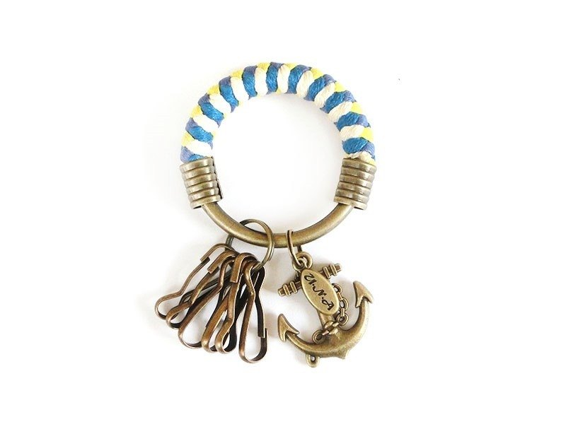 Key ring (small) 5.3CM bright yellow + bright blue + blue purple + white + anchor hand-woven hoop customized