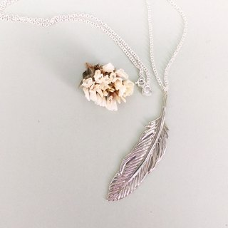 Big feather / silver necklace / Màn workers