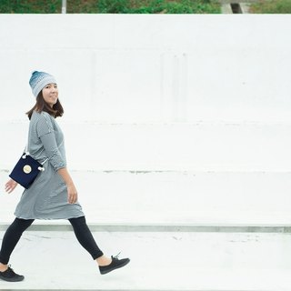 Cotton canvas circle bucket bag (Navy Color)