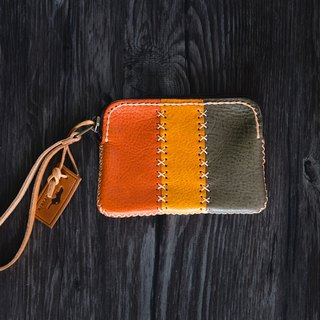 Triplet mini Bag made of vegetable tanned leather from Italy-Orange/Green/Yellow