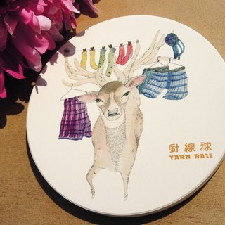 Sewing ball Taiwan endemic animals - deer ceramic absorbent coasters
