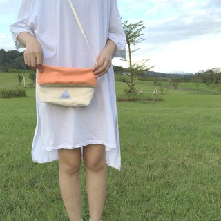MaryWil Colorful Shoulder Bag-Orange/Apricot Cream