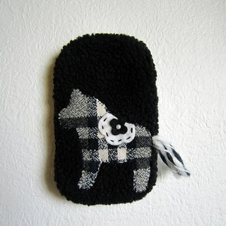 Black and white horse cell phone pocket