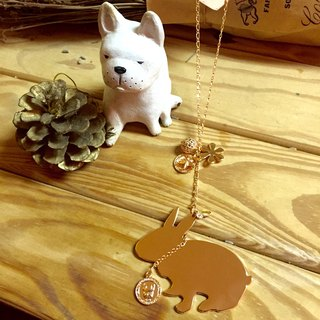 Oops Mini Rabbit Silhouette Brass Rose Gold Long Necklace - Christmas Gifts -