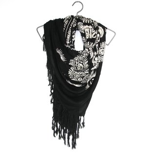 Folk wind totem fringed scarves