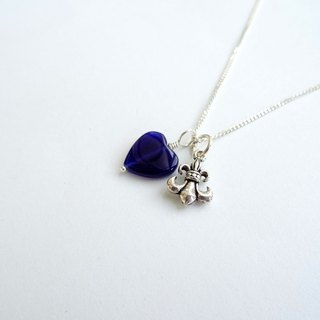 Heart Shaped Sodalite & Sterling Silver Anchor Two Pendants Necklace