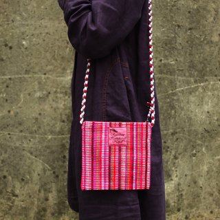 【Grooving the beats】Handmade Hand Woven Side Bag / Cross Body Bag(Red)