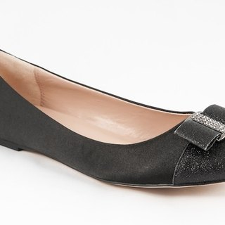 Bella-001m-14A diamond black satin ballet shoes doll