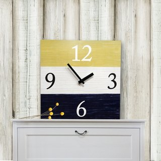 Solid wood retro fashion wall clock - blue - white - yellow - square -30cmX30cm - mute