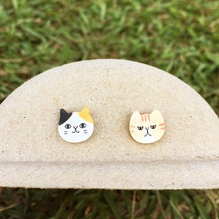 ◤ friends meow one painted earrings - Allergy needle / ear clip-on can be changed / couple into