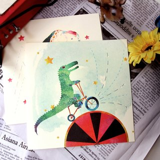 Crocodile riding treadmill card --- beauty from the art into the life of Minervac