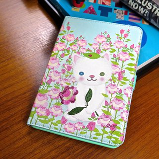 Sigema X Mi-Ae-Hon iPad mini 1/2/3 Book Cover mint green embroidered leather cat