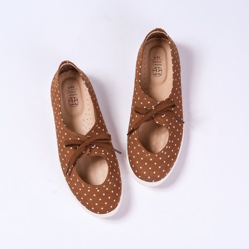[hanamikoji shoes] Comfortable Casual Flat Shoes Spring Brown Dot Japan Cotton