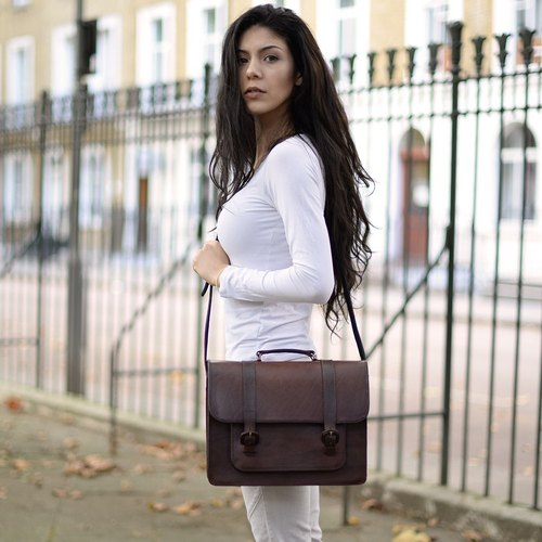 Santa Rosa retro handmade leather buckle satchel