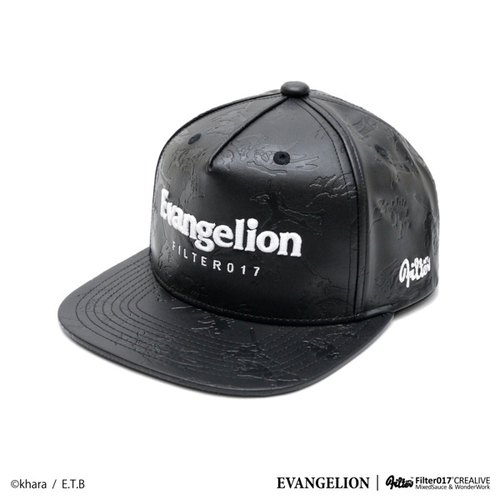 Filter017 x Evangelion baseball cap EVA Nightmare Pattern Leather Snapback Cap texture embossed leather hat