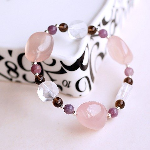 :::*CaWaiiDaisy*::: Hands natural stone jewelry - pink chalcedony*citrine*white crystal large satellite bracelet