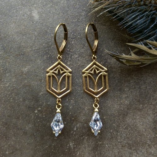 Art Deco style brass CZ Earrings