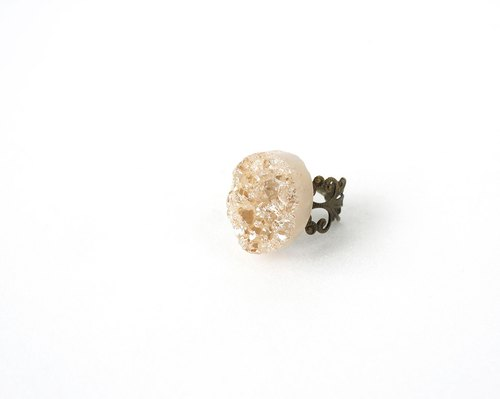 Metallic Druzy Stone Ring, Rose Gold Coating Crystal Stone, Statement Ring
