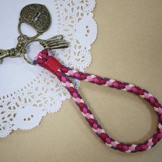 ~ M + Bear ~ vintage braided wire braided wax keychain keychain (peach pink)