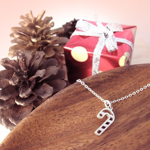 Christmas handmade silver necklaces - sweet candy cane -64design