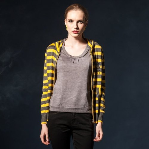 [KIINO] sallow with eye-catching color stripe knit hooded jacket (3842-1611-07)