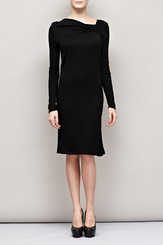 領口抓褶針織洋裝 Neckline Ruched Sweater Dress